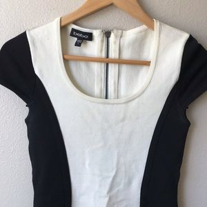 bebe Dresses - BEBE black and white body con dress Small